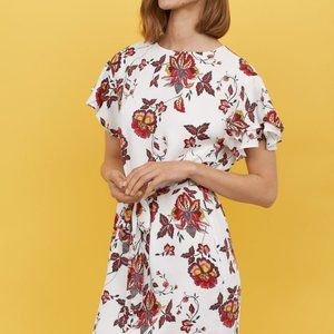 H&M Flounce Sleeved Multi Colored Floral Dress 8